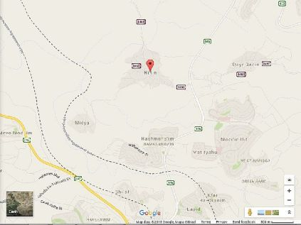 Map of Arab village of Nil'in and the Jewish city of Modi'in Illit.