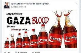 Anti-Semitic graphic posted in 2014 on Facebook by Labour Party councillor Ilyas Aziz.