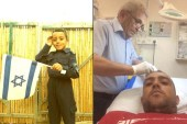 Haled Abu Mokh (R.) receiving stitches, with the childhood picture that got him in trouble. / Facebook