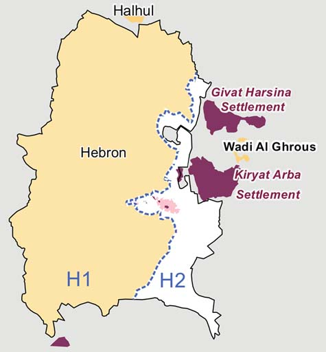 A map of Hebron. The yellow area is Arab, where Jews are not allowed to set foot. / Wikipedia commons