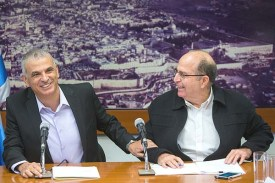Moshe 'Bogie' Ya'alon (R) holds a joint press conference with Finance Minister Moshe Kahlon