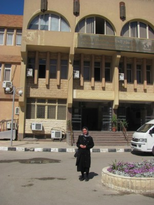 Jewish Press contributor, Rebecca Abrahamson in front of Al Azhar University