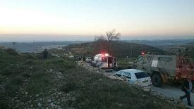 IDF, Hatzolah and MDA ambulances rescue terror victim on Derech Ha'Avot - the Path of the Patriarchs - in Judea.