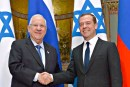 Israeli President Ruvy Rivlin (l) and Russian Prime Minister Dmitry Medvedev. March 17, 2-16.