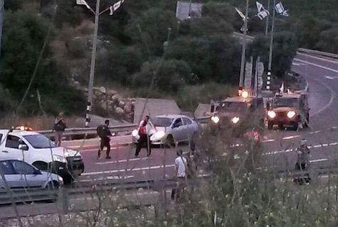 Scene of terror ramming attack at Tzomet HaParsa.