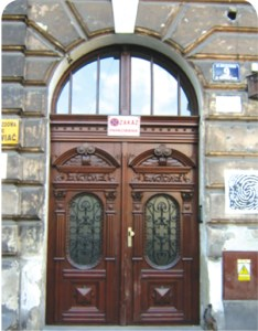 Front doors of the Dinter family residence at Brzozowa 9, Krakow, Poland