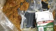 The gun hidden inside a bag of crushed dates