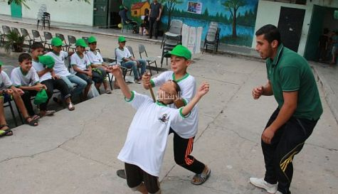 Campers rehearse techniques in how to stab Jews in Hamas-run summer camp in Gaza.