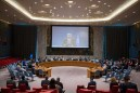 UN Special Coordinator for the Middle East Peace Process Nickolay Mladenov (shown on screen), briefs the Security Council via video teleconference. UN Photo/Rick Bajornas