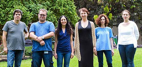 (l-r) Prof. Asaph Aharoni, Sergey Malitsky, Shelly Hen Avivi, Dr. Elena Kartvelishvily, Dr. Gilgi Friedlander and Efrat Almekias-Siegl. The secrets of wheat's color may help protect other plants. / Courtesy