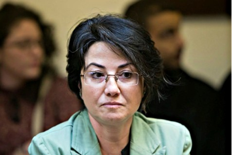 Joint Arab List member Hanin Zoabi  at the Knesset, on February 8, 2016.