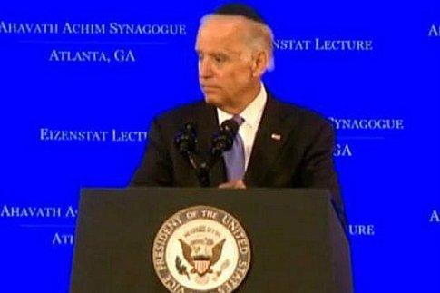 Vice President Biden sports a black kippa while speaking at an Atlanta Conservative synagogue Thursday night.
