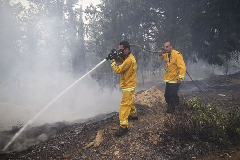Fire fighters work to put out a fire spreading in the woods around Jerusalem's residential neighborhood of Ramot.