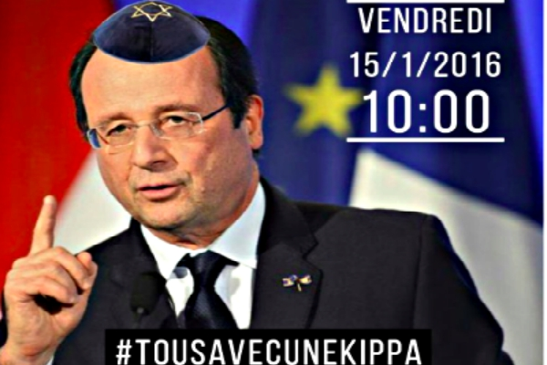 Photoshopped French President François Hollande, for #TousAvecUneKippa campaign