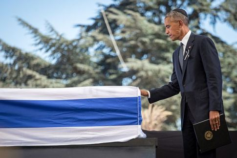 US President Barack Obama seen at the State funeral of former Israeli President Shimon Peres, z'l, at Mount Herzl cemetery in Jerusalem on September 30, 2016.