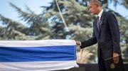 US President Barack Obama seen at the State funeral of former Israeli President Shimon Peres, z'l, at Mount Herzl cemetery in Jerusalem on September 30, 2016.