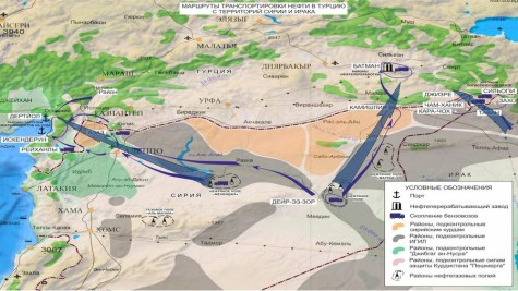 Russian Defense Ministry map showing alleged oil truck routes to Turkey from ISIS oil wells in Syria.