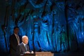 Israel's then-President Shimon Peres attends a ceremony at the Yad Vashem Holocaust Memorial Museum in Jerusalem, as Israel marks the annual Holocaust Remembrance Day on April 27, 2014.