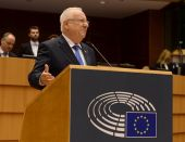 President Reuven Rivlin addresses the European Union Parliament in Brussels, Belgium.