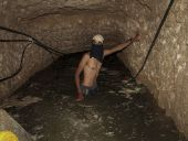 A Hamas digger works in a tunnel used for smuggling supplies between Egypt and Gaza after being flooded with seawater by Egyptian army in Rafah in southern Gaza.