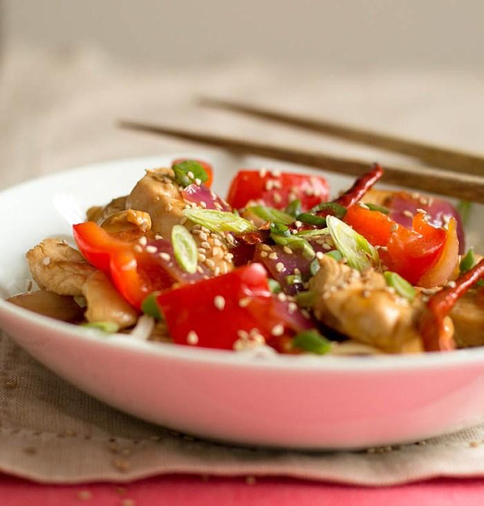 Orange Chicken Stir-Fry with Rice Noodles / JillHough.com