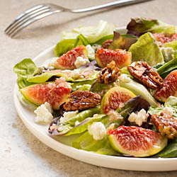 Figs, Goat Cheese, and  Mixed Greens with Candied Pecans