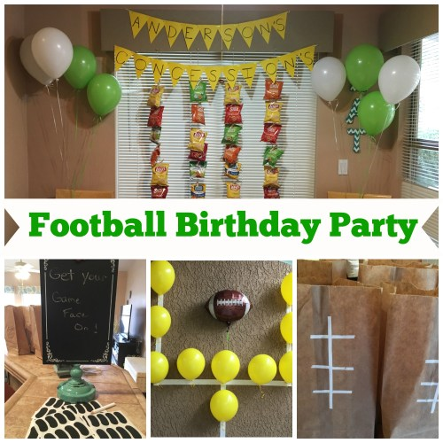 boy's football birthday party themed green yellow