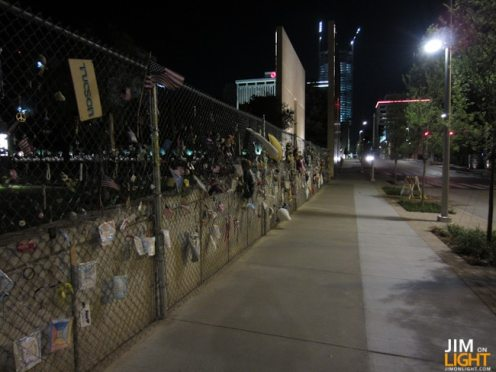 The gate outside of the 9:03 side of the Memorial