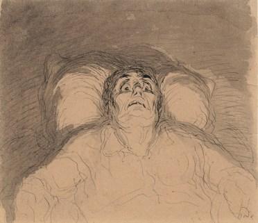 Honoré Daumier (1808-1879) Der eingebildete Kranke, o. D. Feder, laviert, 12 x 14 cm © Privatsammlung Photo: Rudolf Wakonigg