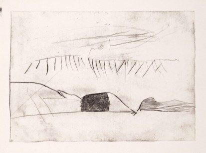 Per Kirkeby, Pearyland, 1963; Kaltnadel; Platte: 157 x 224 mm, Blatt: 240 x 60 mm; Museum Jorn, Silkeborg, © Per Kirkeby, Foto: Lars Bay, Museum Jorn, Silkeborg