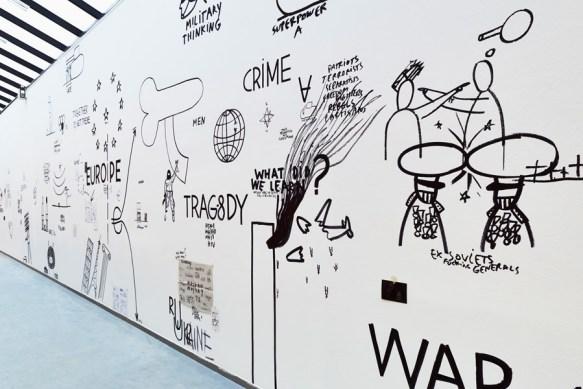 Dan Perjovschi The July Report, 2014 (Detail) Edding auf Wand, Maße variabel Wandmalerei in der Kunsthalle zu Kiel © Dan Perjovschi, Foto: Helmut Kunde