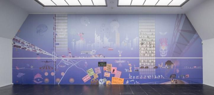 """Florian Haas """"Frankfurter Totentanz"""", 2015 Ausstellungsansicht / Installation view New Frankfurt Internationals 2015 im/ at Frankfurter Kunstverein Tapete, wallpaper Foto / Photo: Norbert Miguletz © VG Bild-Kunst, Bonn 2014 Courtesy the Artist"""
