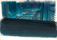 Hintergrund für Ghost in the Shell (1995), Einstellung Nr. 509 Gouache auf Papier und Acryl auf transparenter Folie 270 x 380 mm Illustrator: Hiromasa Ogura© 1995 Shirow Masamune / Kodansha . Bandai Visual . Manga Entertainment Ltd.