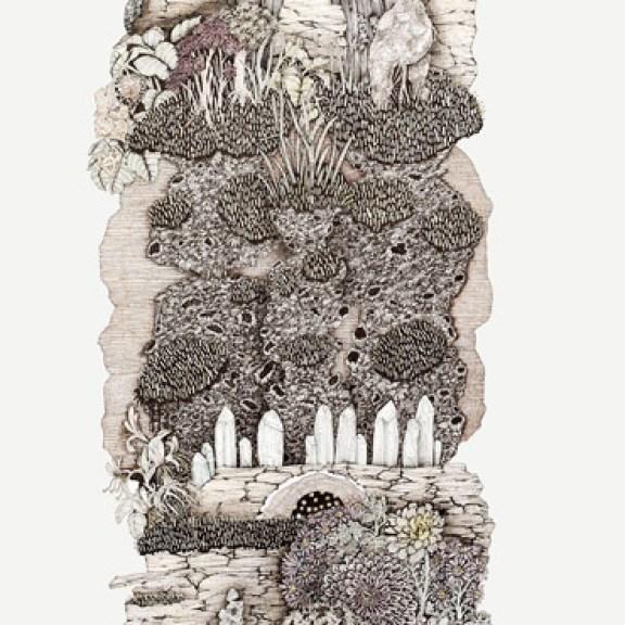 Johanna K Becker, Großes Landschaftspräparat China, 2016, Fineliner und Buntstift auf Papier, 100 x 70 cm