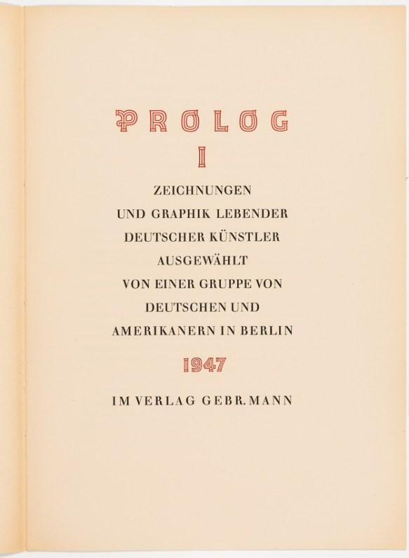 Prolog I (Mappe) 1947, Vorsatzblatt