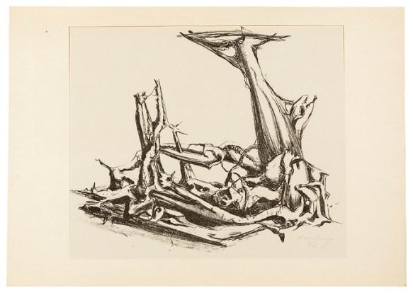 Karl Hartung, Phantastisches Gerippe, 1946, Lithografie (Original)