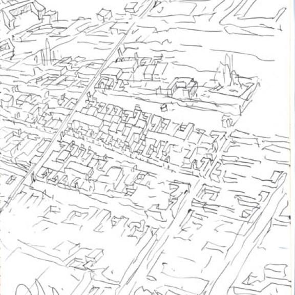 Álvaro Siza Vieira (*1933) Vogelperspektive auf Évora, Quinta da Malagueira, Évora, Portugal Heft 1, 1977 Tinte auf Papier 300 x 210 mm Courtesy Drawing Matter, © Álvaro Siza