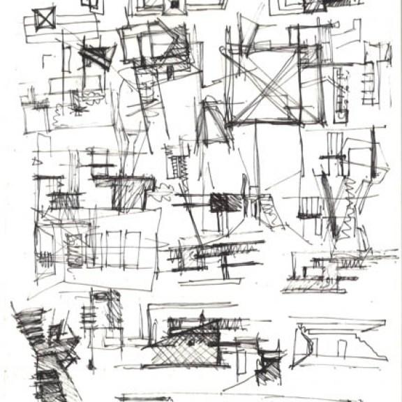 Marie-José Van Hee (*1950) Skizzen für ein Haus, Gent, Belgien ca. 1990 Bleistift und Buntstift auf Skizzenpapier 298 x 205mm Courtesy Drawing Matter, © Marie-José Van Hee