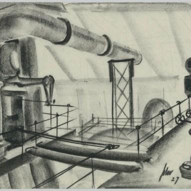 Franz Schroedter (1897–1968), Industrielandschaft, Kohle auf Papier 24,6 x 35,3 cm © Deutsche Kinemathek, Berlin – Franz Schroedter Archiv