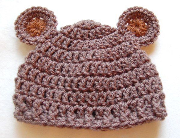 Crochet Baby Hat Bear Ears Pattern : Newborn Bear Hat Crochet Pattern & Crochet Baby Bear Hat