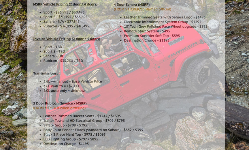 MSRP and Invoice Price Roundup for 2018 Jeep Wrangler JL JLU Base     MSRP and Invoice Price Roundup for 2018 Jeep Wrangler JL JLU Base and  Options