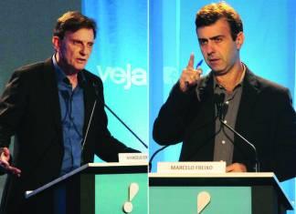 Os candidatos à prefeitura do Rio de Janeiro, Marcelo Crivella (PRB) e Marcelo Freixo (PSOL) (Folhapress)