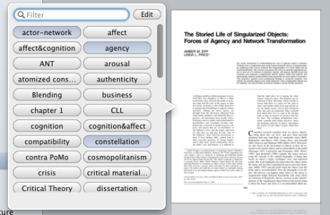 Papers lets you assign keywords to individual articles.