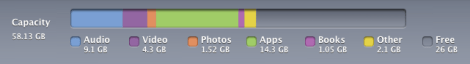 Capacity used on iPad 64 GB after two years
