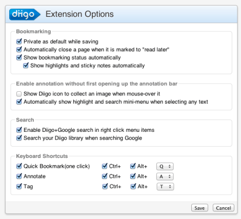 Diigo Settings Chrome