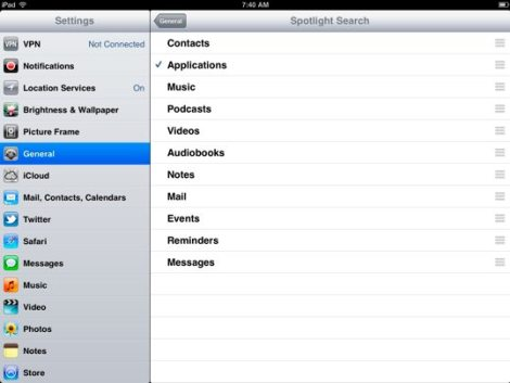 Speed up iPad - Spotlight Search
