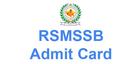 RSMSSB Admit Card 2016 Download Livestock Assistant Hall Ticket
