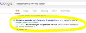 Rhabdomyollysis and personal training