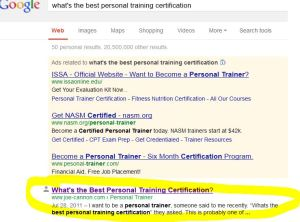 Whats the best personal trainer certification?