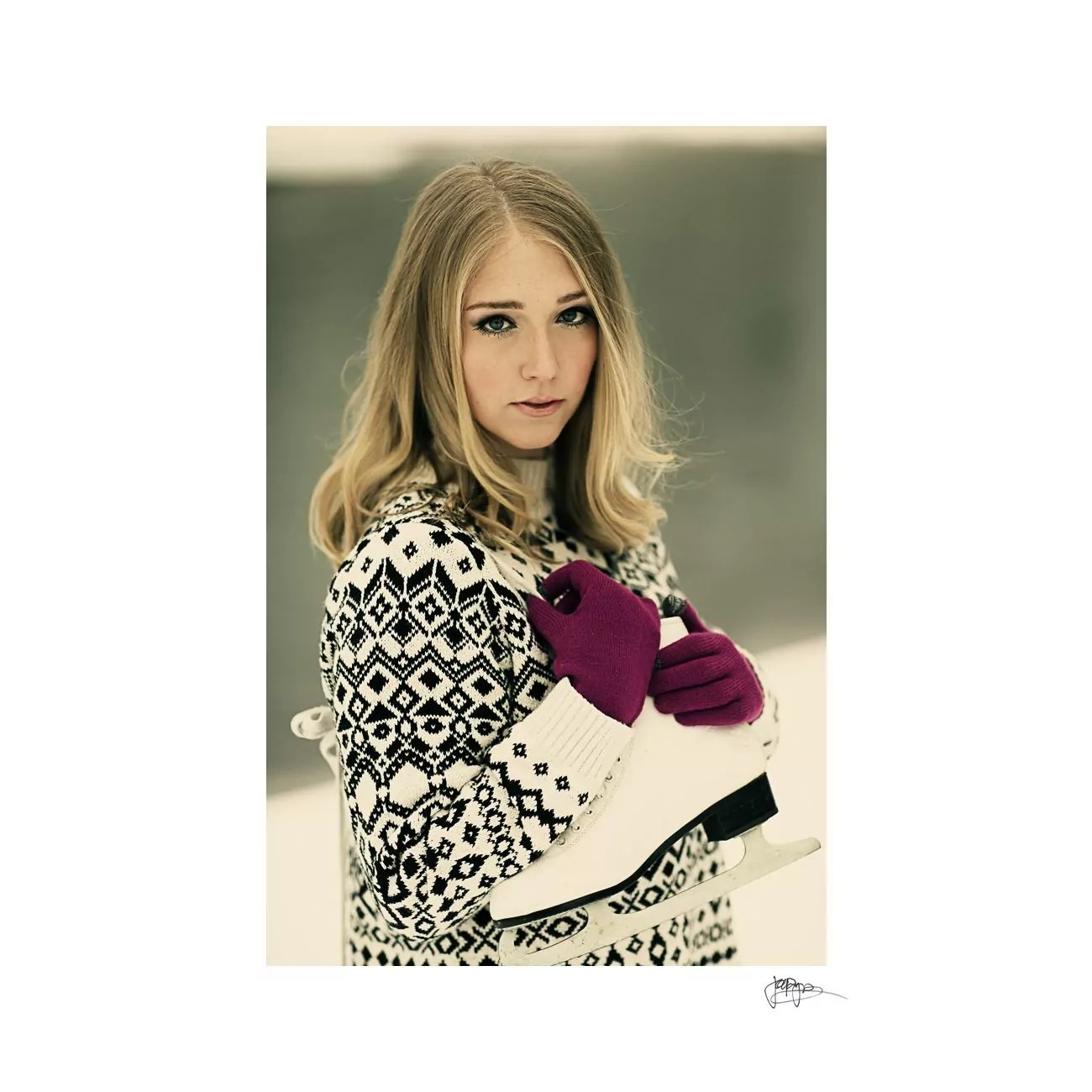 raleigh portrait photographer girl with ice skates